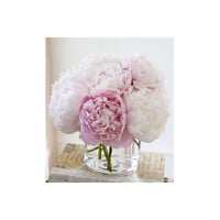 Fine Silk Floral Arrangement Faux Light Pink Peonies with Illusion water by La Fleur