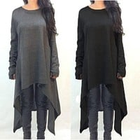 New Autumn Winter Women Dress Long Sleeve Knitted Sweater Dresses Fashion Irregular Hem Maxi Dress Plus Size S-3XL Vestidos