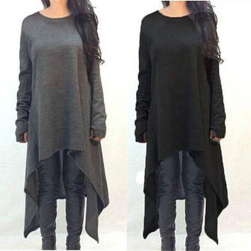 Long Sleeve Knitted Sweater Dresses Fashion Irregular Hem Maxi Dress Plus Size S-3XL Vestidos