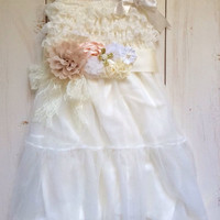 Rustic girl dress and flower sash, belt, country Ivory lace chiffon, flower girl, bridal wedding, pink, blue, shabby chic, vintage