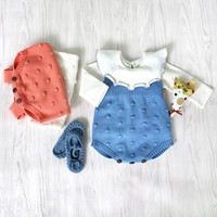 2018 Spring New Baby Knitted Rompers Cute Newborn Baby Boy Girl Clothes Overalls Kids Knitted Jumpsuits Newborn Baby Clothes