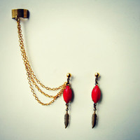red stone and golden feather earrings with ear cuff