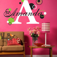 Polka Dot Monogram - Personalized - Vinyl Wall Decal Sticker Art