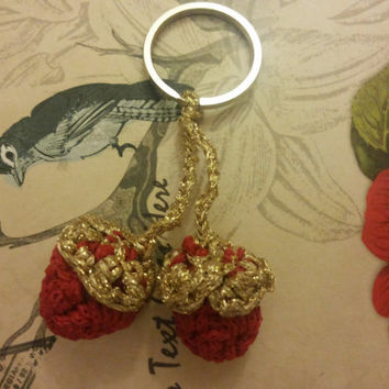 Keychains, golden, Red, key, crochet strawberry key, accessories, boy's, girls,  gift, elvi