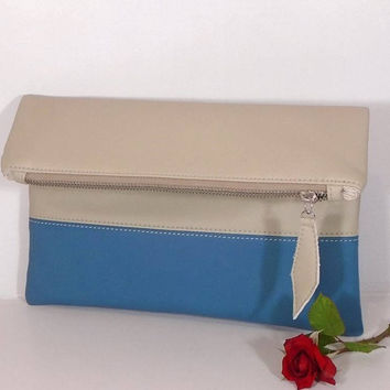 Blue foldover leather clutch, Evening clutch bag, wedding clutch for bride, beige leather purse, gift for bridesmaids, wedding clutch bag