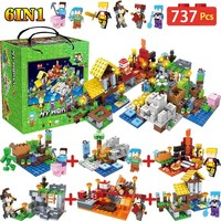 6 IN 1 My World Farm Cottage Building Blocks Compatible LegoINGLY Minecraft Village Defend Homes Figures DIY Toy For Children