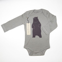 Be The Bear Organic Cotton Bodysuit in Grey [Long Sleeve]