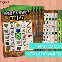 Minecraft Bingo - INSTANT DOWNLOAD Printable Minecraft Bingo - Party Game Idea Matching Invitation & More