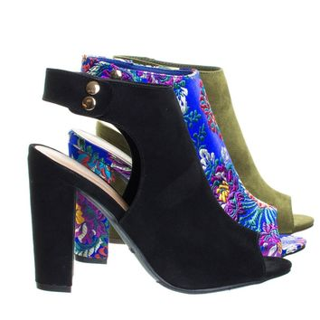 Frenzy01 Chunky Block Heel Dress Bootie Sandal w Peep Toe, Solid & Embroidered