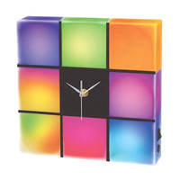 Cresta Wall Clock LED Color Changing Cubes