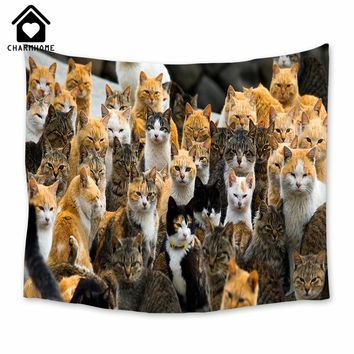 CHARMHOME Tapestry Cute Cats Wall Hangings Wall Blanket Beach Towel Decor Kids Room Accessories Polyester Fabric Tapestries