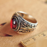 Real 925 Sterling Silver Vintage Rings With Black Onxy Red Garnet Natural Stone Ruby Jewelry For Men Guy Birthday Gift £34.99