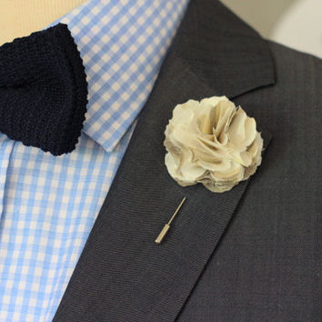 Linen Carnation, mens nautical wedding boutonniere, lapel pin stick, hat pin, brooch pin, button back, groomsmen lapel pin
