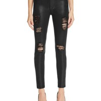 7 For All Mankind Distressed Skinny Ankle Jeans in Coated Fashion | Bloomingdales's