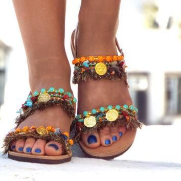 "Earth Color Sandals, Greek Sandals, ""Ibiza Party"" Summer shoes, barefoot sandals, hipp"