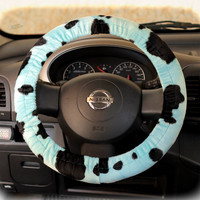 by (CoverWheel) Steering wheel cover cheetah wheel car accessories Blue Cow