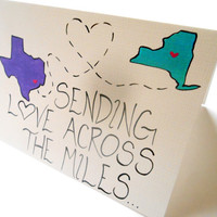 Custom - Sending Love Across the Miles - Counting Down the Days - 5x7 Hand Painted Card - Miss You Card - State to State