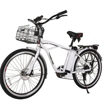 X-Treme Newport Elite 24 Volt Electric Beach Cruiser Bicycle Bike Metallic White
