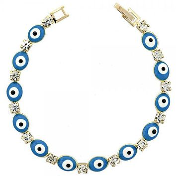 Gold Layered Fancy Bracelet, Greek Eye Design, with Opal and Cubic Zirconia, Golden Tone