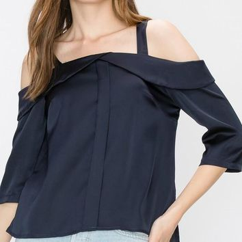 Satin 3/4 sleeve cold shoulder blouse