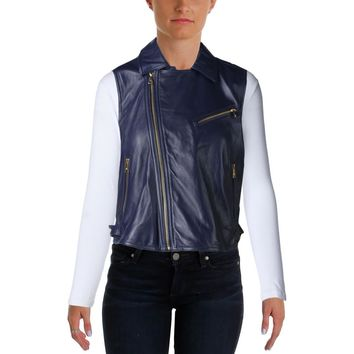 Lauren Ralph Lauren Womens Lambskin Leather Zipper Casual Vest