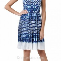 Ikat Print Pleated Day Dresses by Adrianna Papell