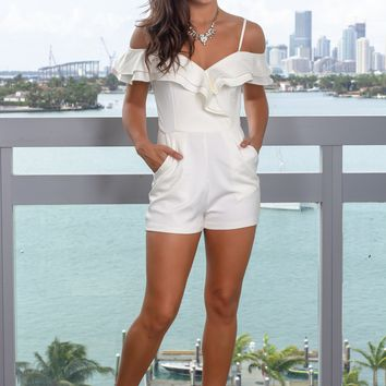 Off White Surplice Romper