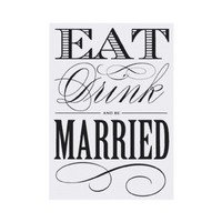 EAT DRINK AND BE MARRIED - SAVE THE DATE PERSONALIZED ANNOUNCEMENT from Zazzle.com