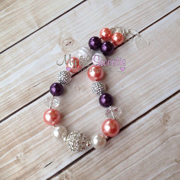 Stunning Coral, Ivory, plum eggplant chunky necklace, girls jewelry, wedding jewelry, necklace, bubblegum jewelry, bubblegum necklace