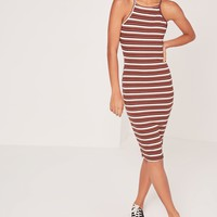 Missguided - Stripe Bodycon Midi Dress Multi