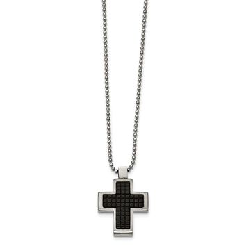 Stainless Steel Brushed & Polished Black IP Textured Cross Necklace 22in
