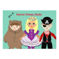 Kids Cute Fancy Dress Themed Party Announcement Card