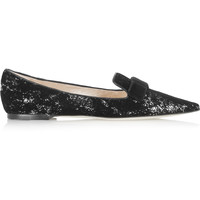 Jimmy Choo - Gala flocked sequined leather point-toe flats