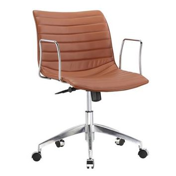 Light Brown Faux Leather Modern Mid-Century Style Mid-Back Office Chair with Arms