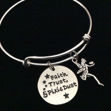 Faith Trust and Pixie Dust with Fairy Charm Expandable Silver Bracelet Adjustable Bangle Trendy Gift