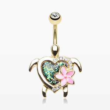 Golden Hawaiian Flower Turtle Opal Sparkle Belly Button Ring