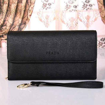 PRADA Women Fashion Leather Buckle Wallet Purse