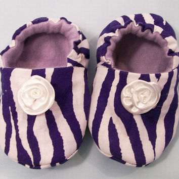 Baby Girl Shoes,Purple Zebra Stripe Soft Fabric Shoes, Baby Girl Gift, Baby Fashin Shoes,  Baby Shower Gift,  #7
