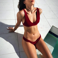 New Summer Sexy Women bikini Solid Color swimsuit V Neck Swimwear -0711