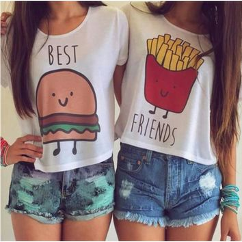 Fashion New Casual Crop Tops Women 2017 Summer Tops Round Neck Best Friends Print T Shirts Cartoon Printed Tees T-shirts