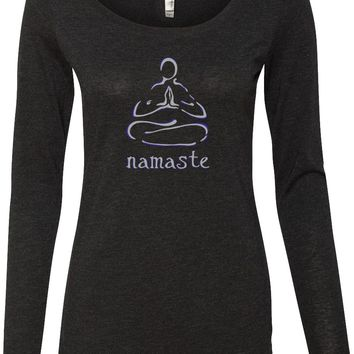 Womens Yoga T-shirt Namaste Lotus Pose Lightweight Long Sleeve