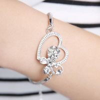 Butterfly and Heart Rhinestone Silver Rope Chain Bracelet