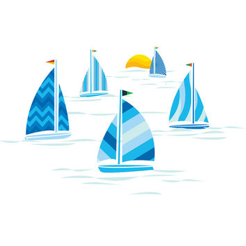 I liked this design on #Fab. Sailboats Set Of 5