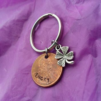 Lucky Penny Keychain - Custom Keychain - Penny Jewelry - Shamrock Four Leaf Clover Keychain - Lucky Charm - Good Luck Charm - Money