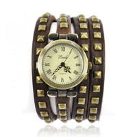 Leather Strap with Rivet Wrap Watch by Hallomall