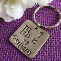 The Lord Is My Shepherd Prayer Keychain - Personalized Keychain - Cross Keychain -Prayer Keychain - Custom Keychain - Pewter