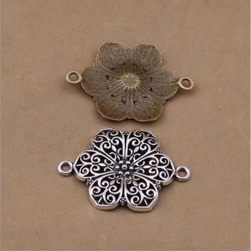 10pcs 42x33mm Vintage zinc Alloy Charms Flower Connector Charm Pendant DIY Bracelet Necklace Metal Jewelry Accessories Making