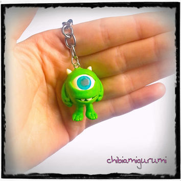 Mike wazowski keychain charm chibi in polymer clay inspired by monsters movie