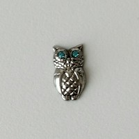 Silver Owl with Blue Stones Floating Charm