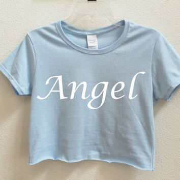 Angel Graphic Print Women's Crop Shirt S M L XL XXL